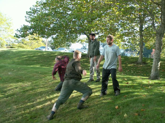 training outdoors Sat 10 11 08 working on the side/crest of a hill