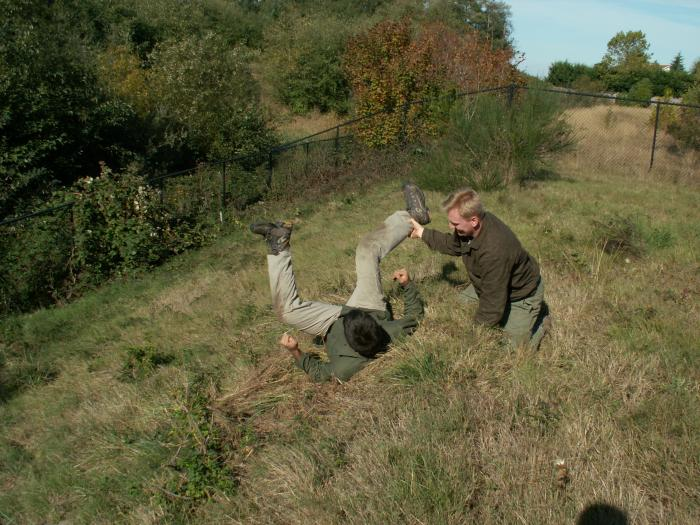 Training outdoors Sat 10 11 08 working on uneven rough ground covered with hidden obstacles and dangers and lessons