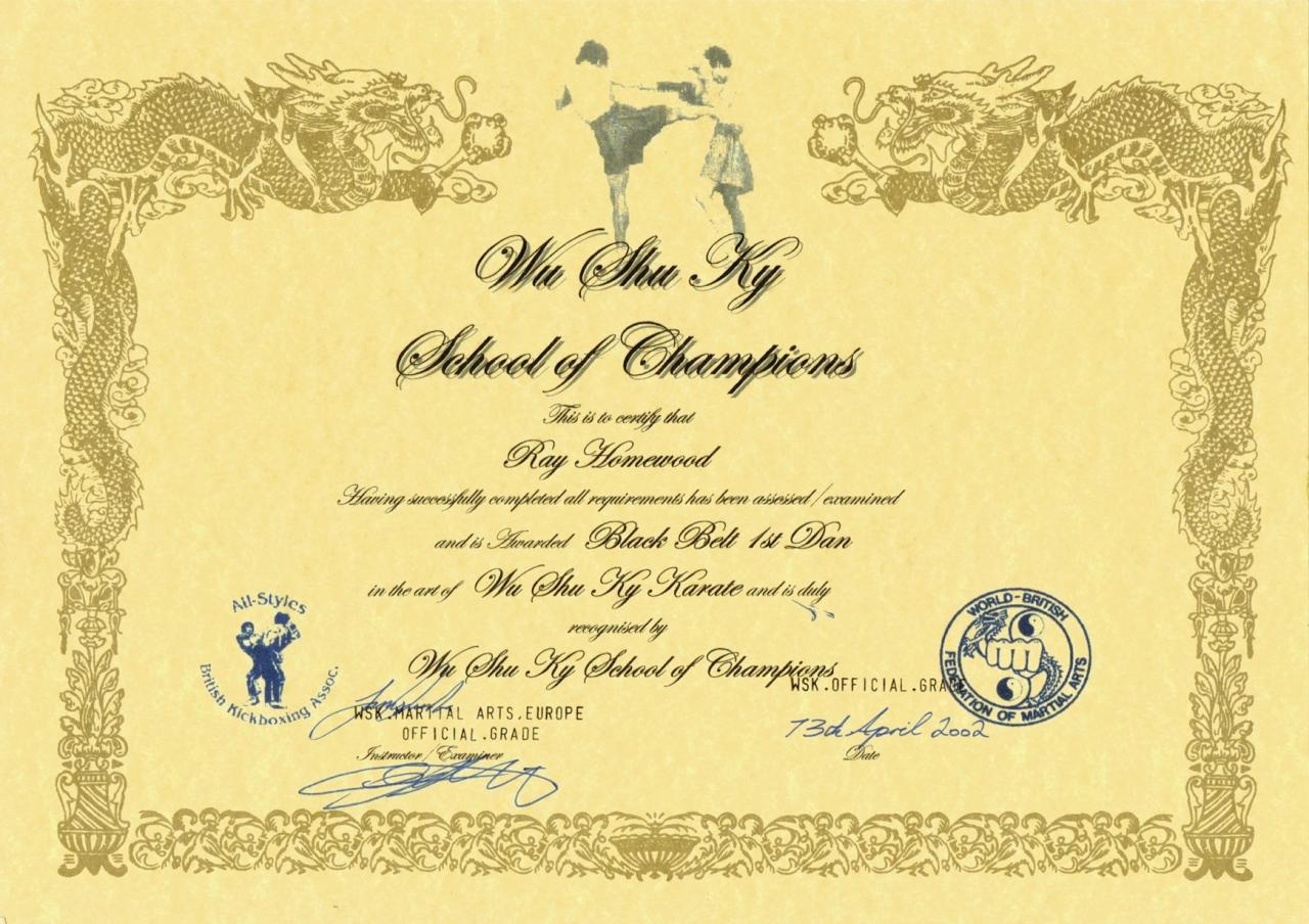 Shod an certificate, Wu Shu Ky Karate,  2002